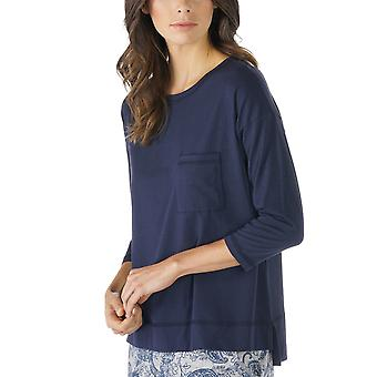 Mey 16806-408 Women's Night2Day Night Blue Solid Colour Pajama 3/4 Sleeve Pyjama Top