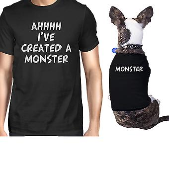 Created A Monster Small Dog and Owner Matching Shirts Black Gifts