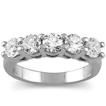 2 Carat 5-Stone Round Lab Created Diamond Ring 14K White Gold