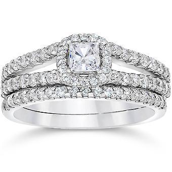 1 Carat Princess Cut Diamond Halo Engagement Wedding Ring Set White Gold