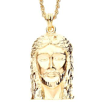 Iced Out Bling DIAMOND CUT Anhänger - JESUS FACE gold