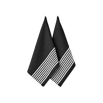 Ladelle Set of 2 Butcher Stripe Series II Black Tea Towels