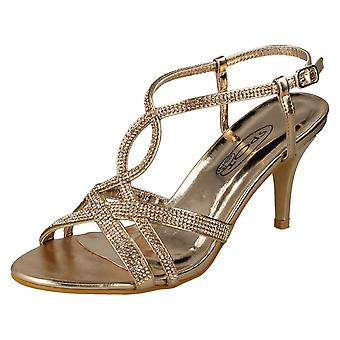 Dames plek op Diamante sandalen F10838 - Rose Gold synthetische - UK maat 3 - EU Size 36 - US maat 5