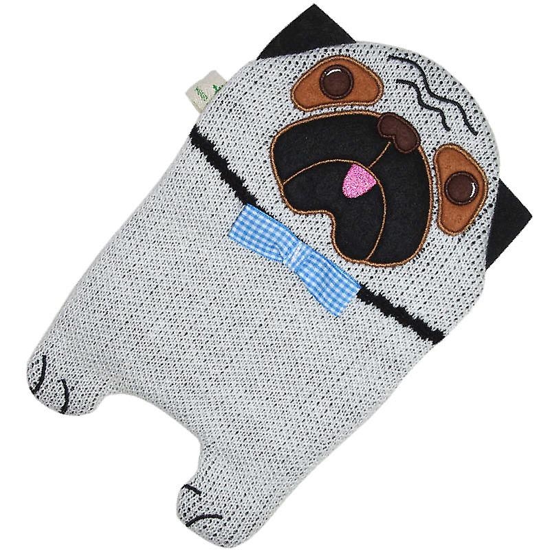 Hugo Frosch Eco Hot Water Bottle In In Knitted Pug Cover 0.8L
