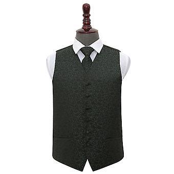 Schwarzen & grüne Wirbel Hochzeit Weste & Krawatte Set