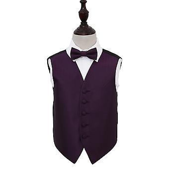 Gilet de mariage clé grecque Cadbury Purple & ensemble de noeud de cravate pour les garçons