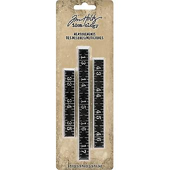 Idea-Ology Metal Ruler Measurements 3/Pkg-.5
