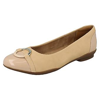 Ladies Clarks Ballerina Flat With Ring Detail Neenah Vine - Nude Combi - UK Size 8E - EU Size 42 - US Size 10.5W