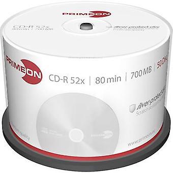 Primeon 2761102 blanco CD-R 80 700 MB 50 PC (s) spindel zilver mat oppervlak