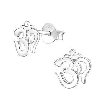 Om Symbol - 925 Sterling Silver Plain Ear Studs