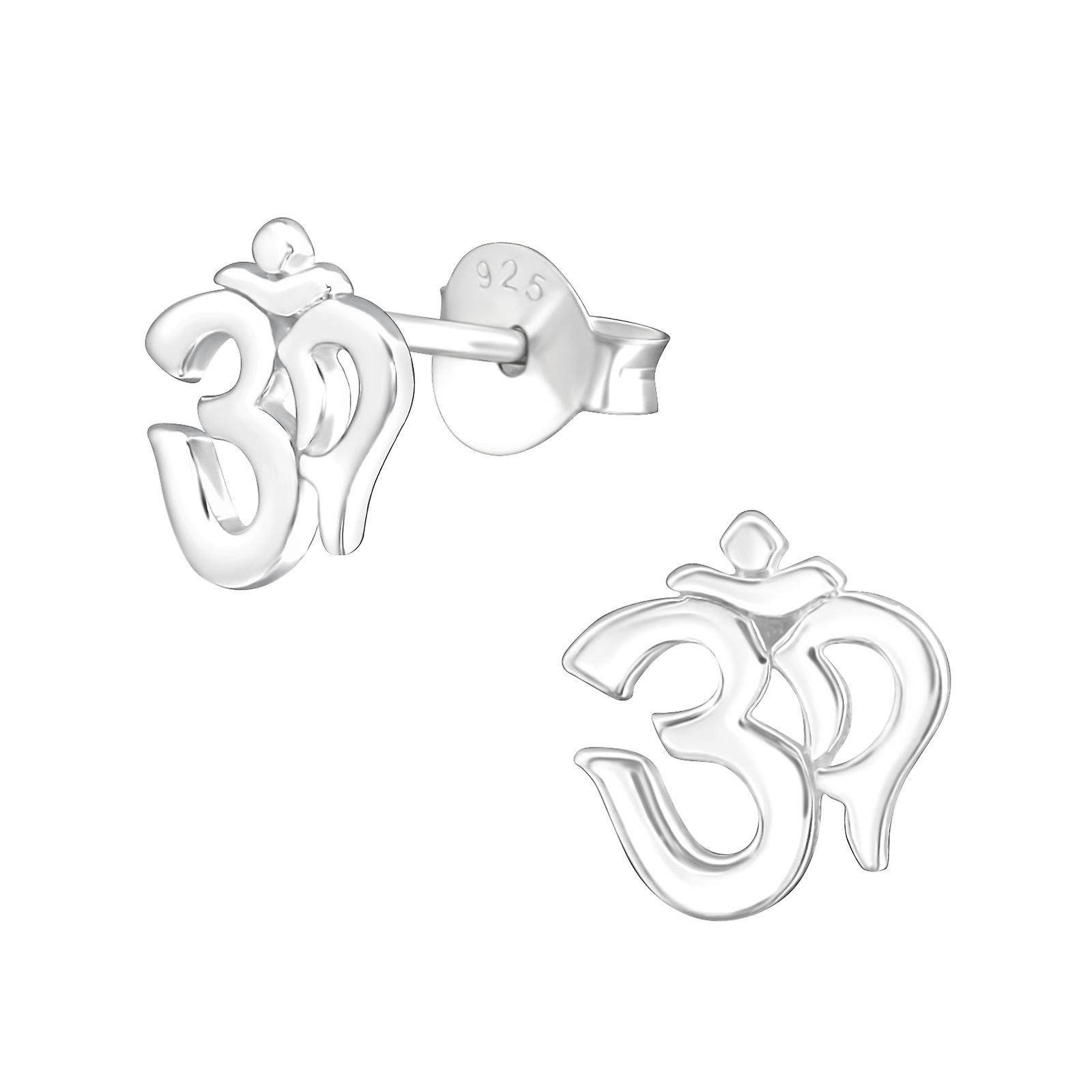 Om Symbol - 925 Sterling Silver Plain Ear Studs - W37748x
