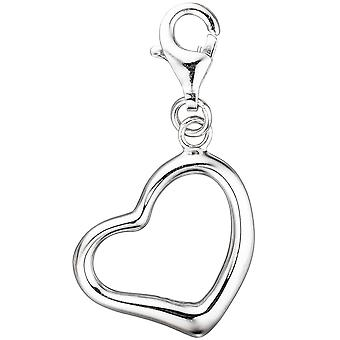 Single earrings charm heart 925 sterling silver rhodium plated carabiner