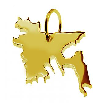 Trailer map BANGLADESH pendant in solid 585 yellow gold