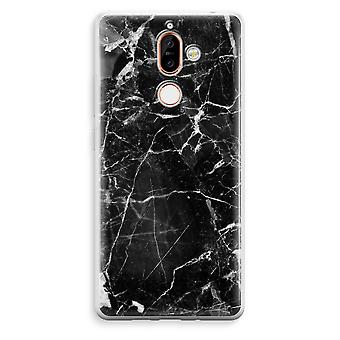 Nokia 7 Plus Transparent Case (Soft) - Black Marble 2