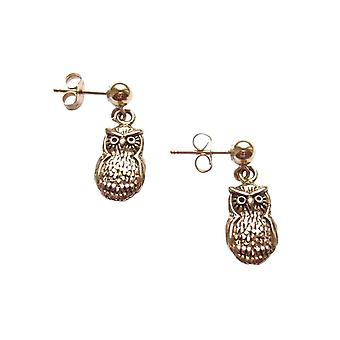 Ladies earrings 925 Silver gold plated eagle owl 2 cm