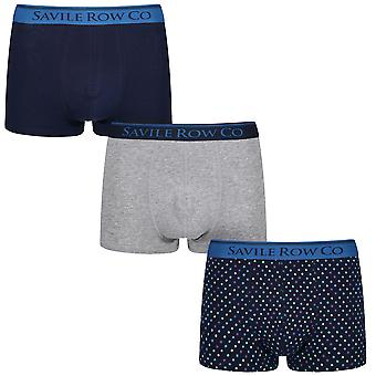 Designer 3 Pack Gift Set Mens Savile Row Trunks Dawson Boxers Underwear