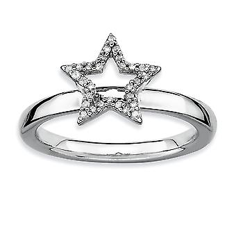 Sterling Silver Polished Prong set Rhodium-plated Stackable Expressions Star Diamond Ring - Ring Size: 5 to 10