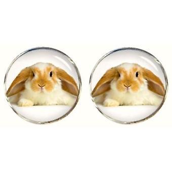 Bassin and Brown Rabbit Cufflinks - Beige/White