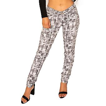 Coloured Printed Pattern Slim Trousers - White