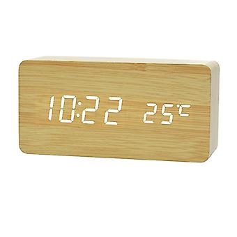Digitale LED alarmklok in houten ontwerp-hout/wit