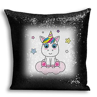 i-Tronixs - Unicorn Printed Design Black Sequin Cushion / Pillow Cover for Home Decor - 8