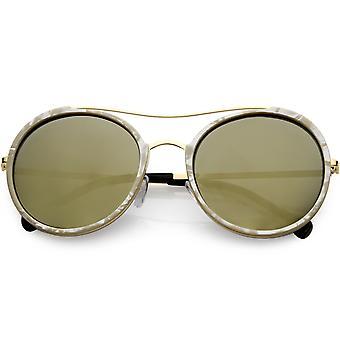 Metalowa poprzeczka kobiet okrągły okulary polaryzacyjne soczewki 56mm