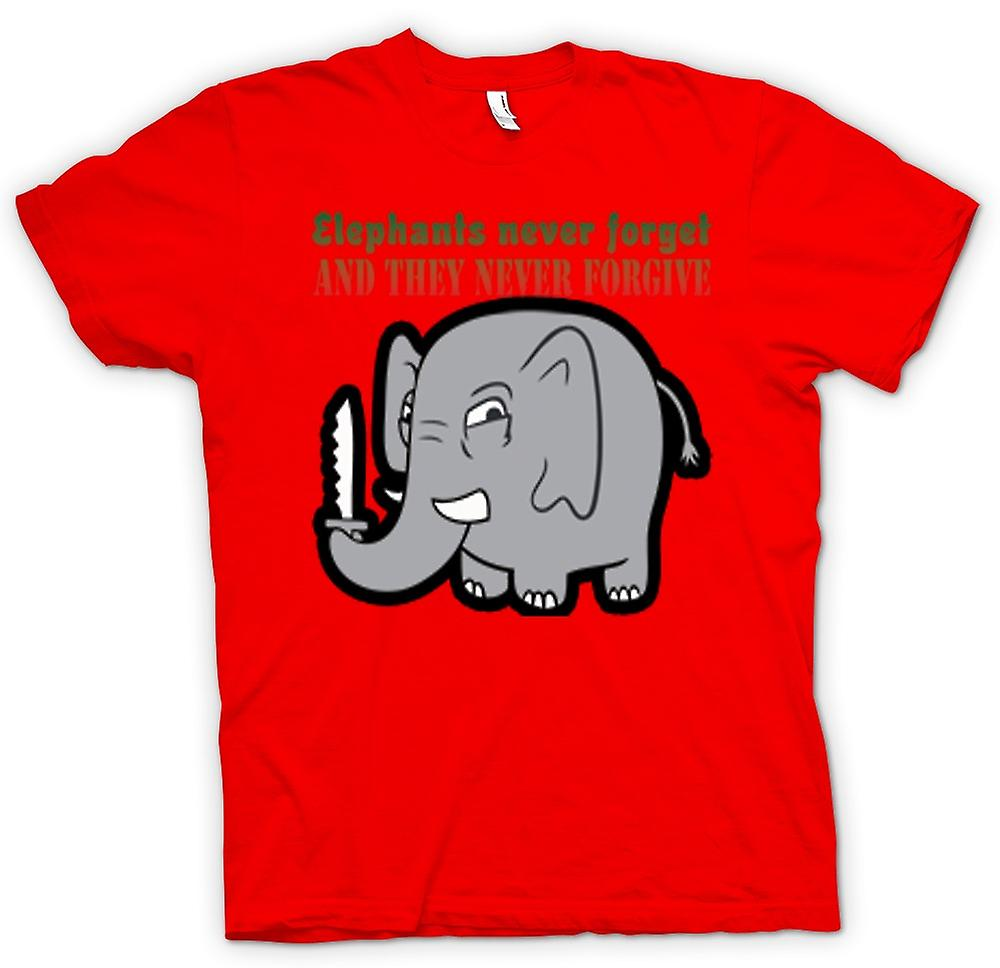 Mens T-shirt - Elephants never forget & they never forgive