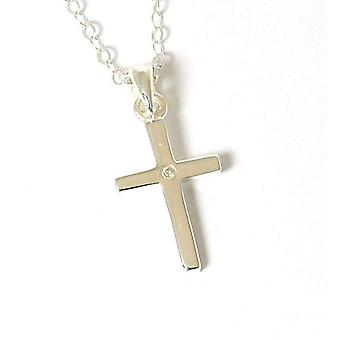 Jo For Girls Sterling Silver Crystal Set Cross Pendant Necklace 14