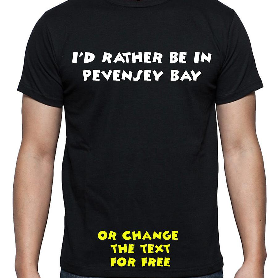 I'd Rather Be In Pevensey bay Black Hand Printed T shirt
