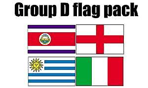 GRUPPE D Football World Cup 2014 flagg Pack (5 ft x 3 ft)