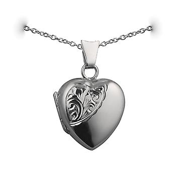 Silver 17x16mm half hand engraved heart shaped Locket with a rolo Chain 24 inches