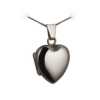 9ct white gold 17x16mm plain heart Locket with a curb chain