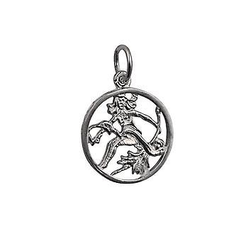 Silver 11mm pierced Virgo Zodiac Pendant