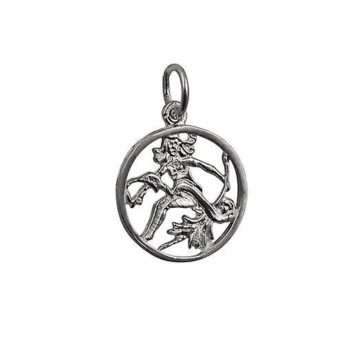 Silver 11mm pierced Zodiac pendant Virgo
