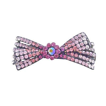 Pink Bow Hair Barrette Clip Fuchsia Rose Lite Rose & Clear Rhinestones