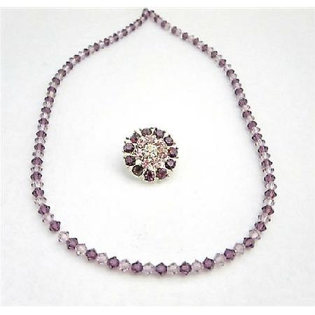 Lite Dark Amethyst Brooch Matching Necklace Wedding Bridesmaid Jewelry