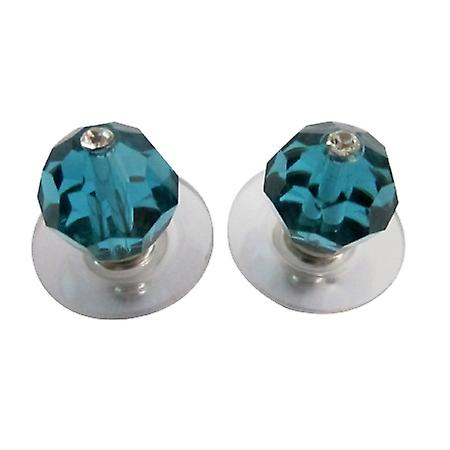 Indicolite Swarovski Crystal Stud Earrings Bridesmaid Sleek Jewelry