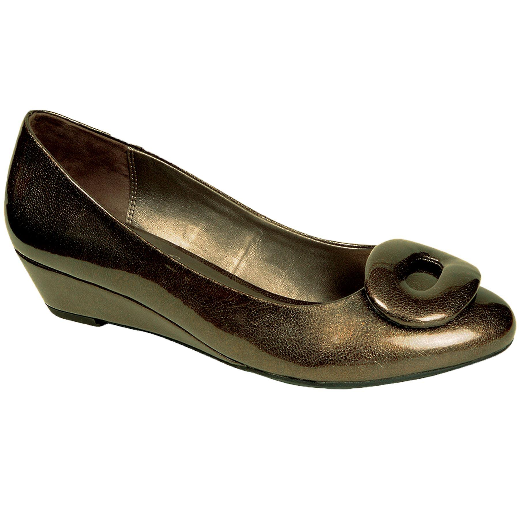 Ladies Patent Shiny Oval Buckle Front Slip On Women's Low Wedge Heels Shoes