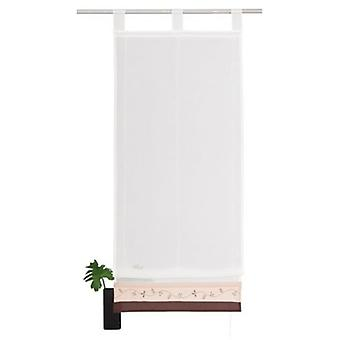 my home curtain modern Roman shade with 2 color embroidered Panel transparent white