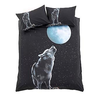 3D Moon Wolf Animal Duvet Quilt Cover Cotton Rich Bedding Set Pillow Case