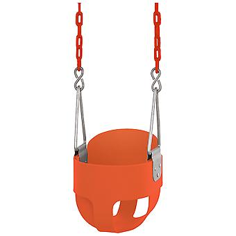 Swingan - High Back, Full Bucket Toddler & Baby Swing - Vinyl Coated Chain - Fully Assembled - Orange