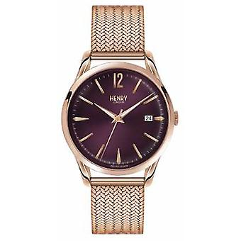 Henry London forgyldt Hampstead Rose Mesh lilla Dial HL39-M-0078 Watch