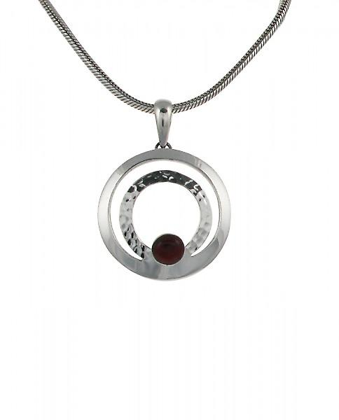 Cavendish French Silver Hoop and Red Jasper Button Pendant