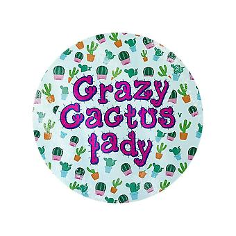 Grindstore Crazy Cactus Lady Circular Glass Chopping Board
