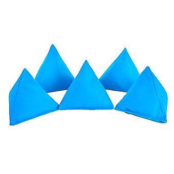 Paquete de algodón turquesa de 5 bolsas triangulares de frijol para jugar al aire libre