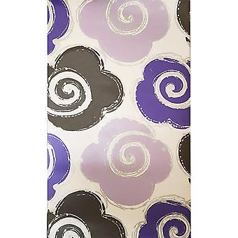 Flower Floral Wallpaper Luxury Modern Motif White Purple Black Silver Izy Muriva