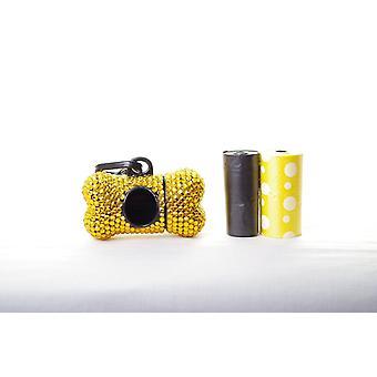 Guld krystal Rhinsten ben formet affald pose Dispenser