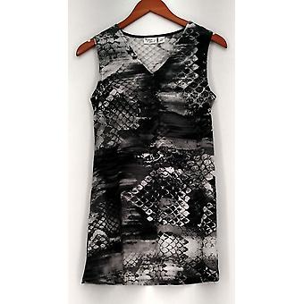 Women with Control Top Printed Sleeveless V-Neck Tunic Black A233077