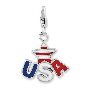 925 Sterling Silver Fancy Lobster Closure Enameled Star Usa Logo With Lobster Clasp Charm 925 Sterling Silver Fancy Lobster Closure Enameled Star Usa Logo With Lobster Clasp Charm 925 Sterling Silver Fancy Lobster Closure Enameled Star Usa Logo With Lobster Clasp Charm 92