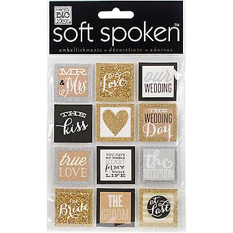 Soft Spoken Themed Embellishments-Squares - Gold Love SS-1569